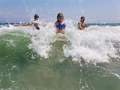 Helen And Her Parents In The Ocean