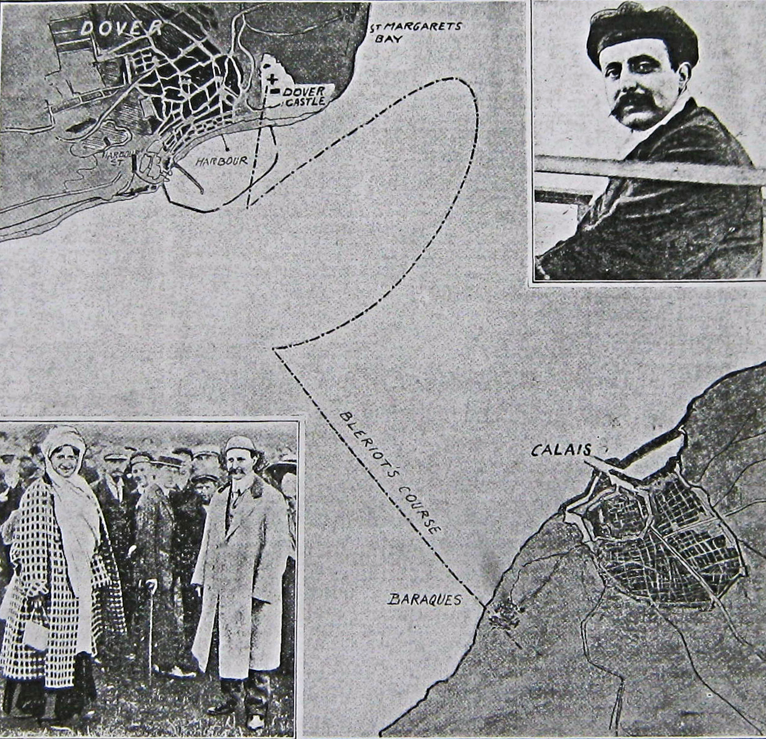 Map of Bleriot's track across the English Channel. Published in the Daily Mail on July 26, 1909.