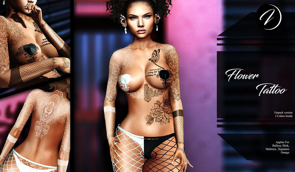 ..:: INKer ::.. Flower Tattoo available in 2 colors or Fatpack - TeleportHub.com Live!