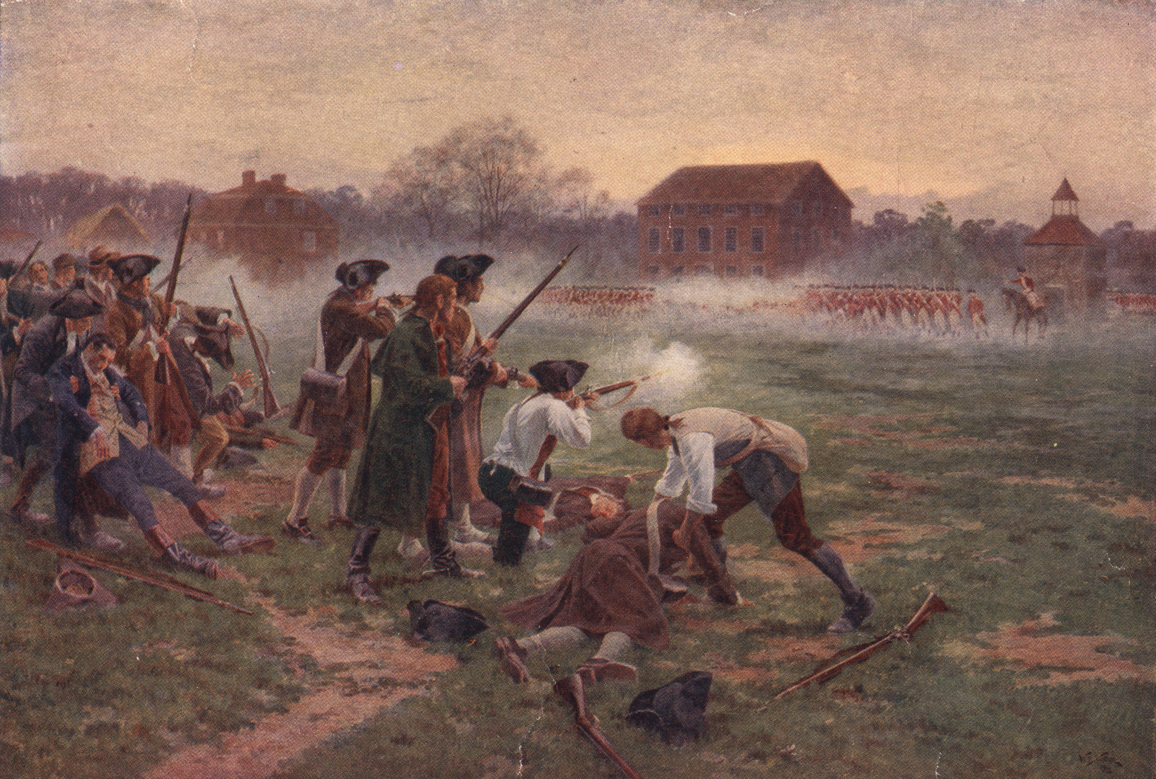 Minutemen facing British soldiers on Lexington Common, Massachusetts, in the first battle in the War of Independence, 19th April 1775. Original artist William Barnes Wollen. (Photo by Hulton Archive/Getty Images)