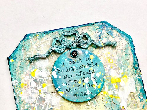 Meihsia Liu Simply Paper Crafts Mixed Media Tag Flower Power Simon Says Stamp Tim Holtz Prima Flowers 4