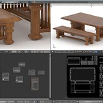 Indo Table Bench Blender 3D