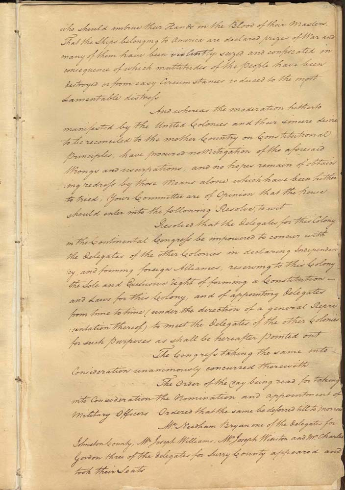 """The fifth page of the Halifax Resolves reads: """"Resolved that the delegates for this Colony in the Continental Congress be impowered to concur with the other delegates of the other Colonies in declaring Independency . . ."""" From the State Archives of North Carolina (Secretary of State Records, Provincial Conventions and Congresses, MARS Id: 12.114)."""