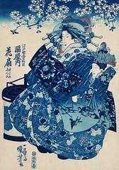 Ogiya uchi Hanaogi by Utagawa Kuniyoshi (1753-1806), translated The Courtesan Hanao of Ogi-ya, a traditional Japanese ukiyo-e style illustration of a well-dressed courtesan woman with elaborate hair ornaments sitting with an attendant. Digitally enhanced