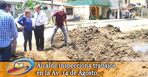 Alcalde inspecciona trabajos en la Av. 14 de Agosto
