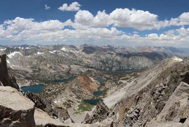Looking down into the Bishop Creek drainage from the summit of Cloudripper