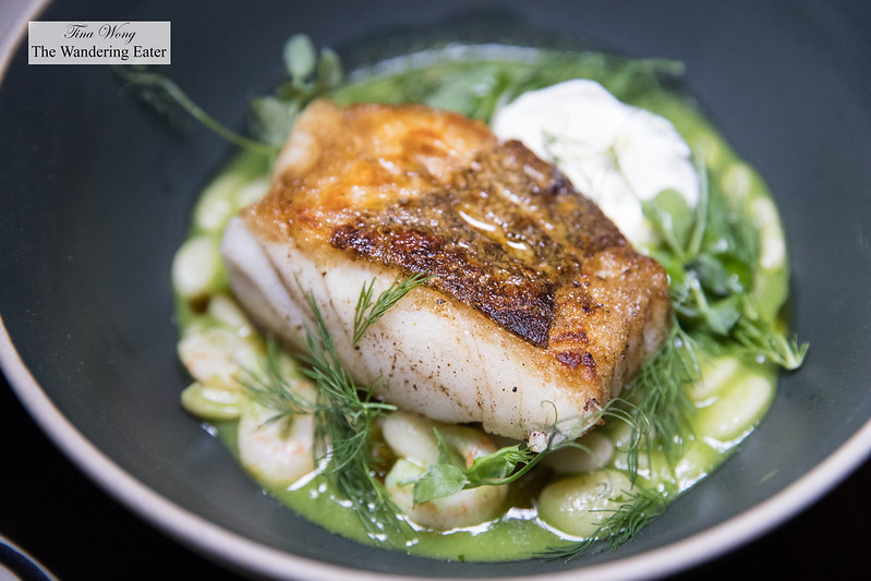 Roasted cod, butter beans, peas, Nordic shrimp, strained yogurt