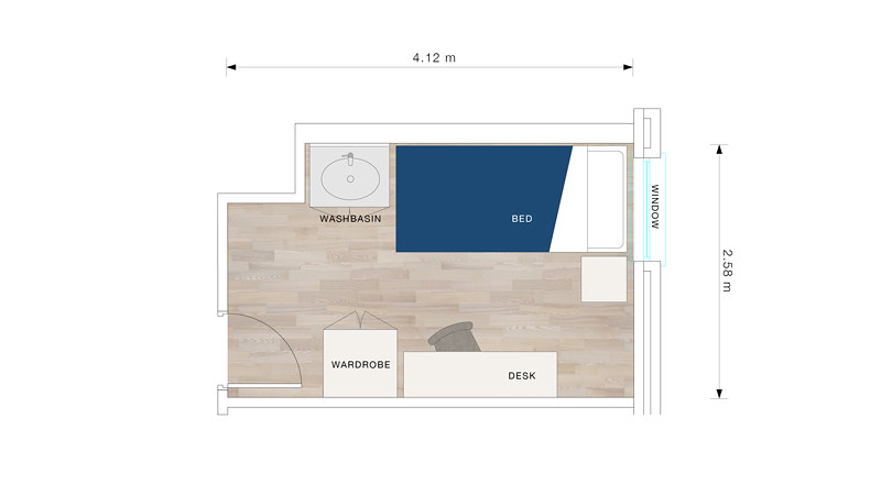 A bedroom floor plan for Pulteney Court