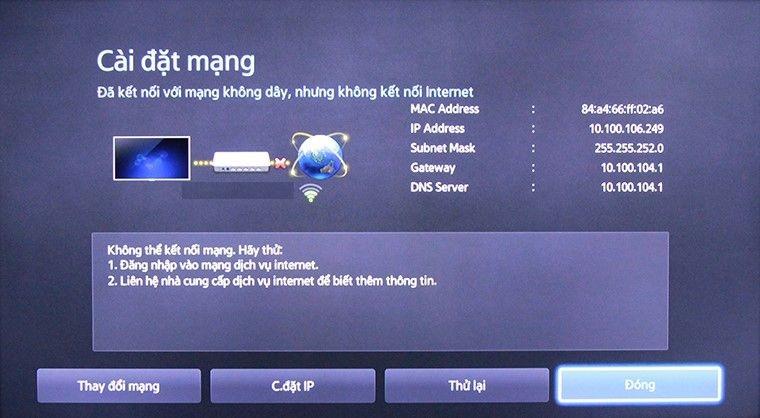 khắc phục lỗi Tivi không kết nối được mạng