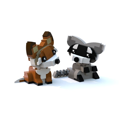 Sitting Raccoon with Fox