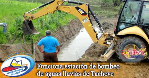Funciona estación de bombeo de aguas lluvias de Tacheve