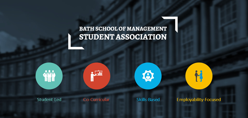 School of Management Student Association logo and key values