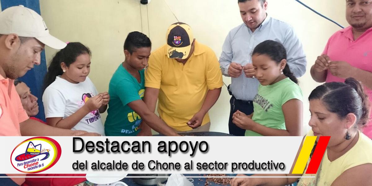 Destacan apoyo del alcalde de Chone al sector productivo