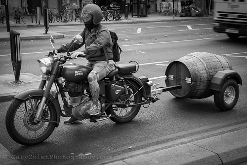 Royal Enfield motorbike and barrel