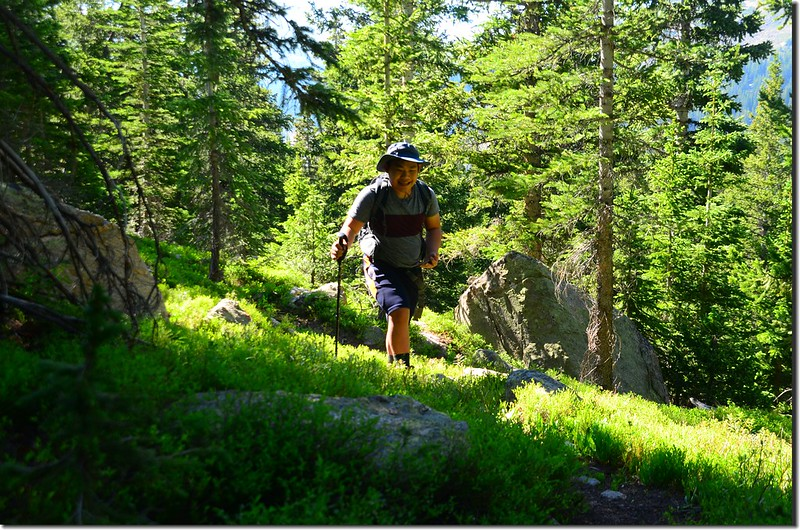 Jacob on his way up to #1 unnamed lake