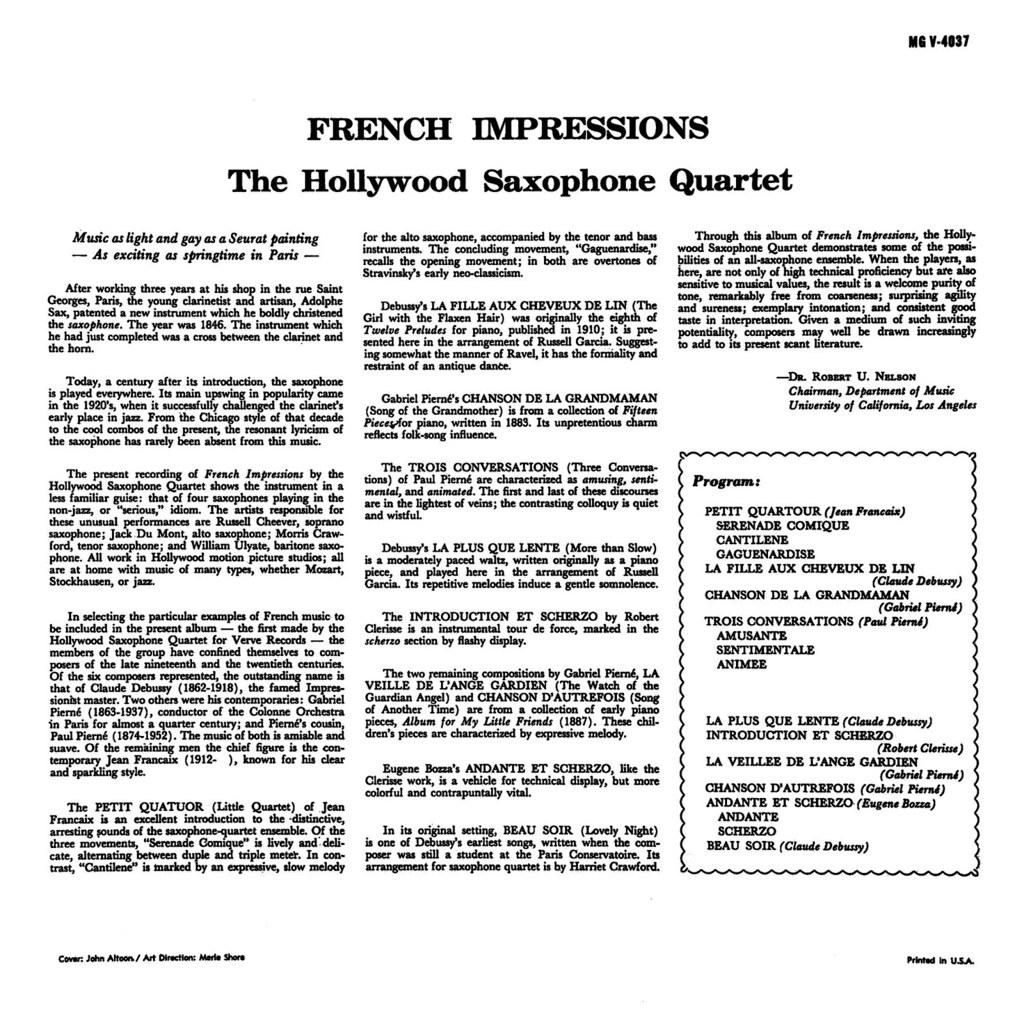 Hollywood Saxophone Quartet - French Impressions