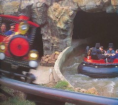 Runaway Minetrain and Congo River Rapids during Katanga Canyon's first season in 1992