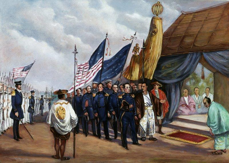 Original caption: Illustration depiting Commodore Matthew Perry (1794-1858) meeting the royal commissioner at Yokahama, 1853. Undated painting. 1853 Yokahama, Japan