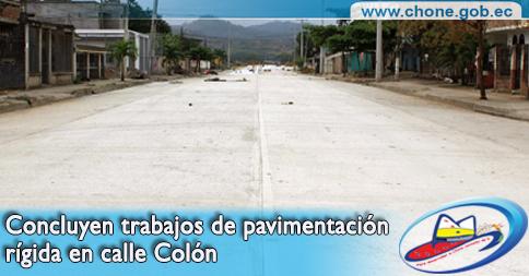 Concluyen trabajos de pavimentación rígida en calle Colón