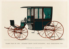 Illustration of a black antique carriage (1885), a vintage drawing of a coach from an issue of the very scarce coach-maker's journal, The Hub. Digitally enhanced from our own original chromolithograph.