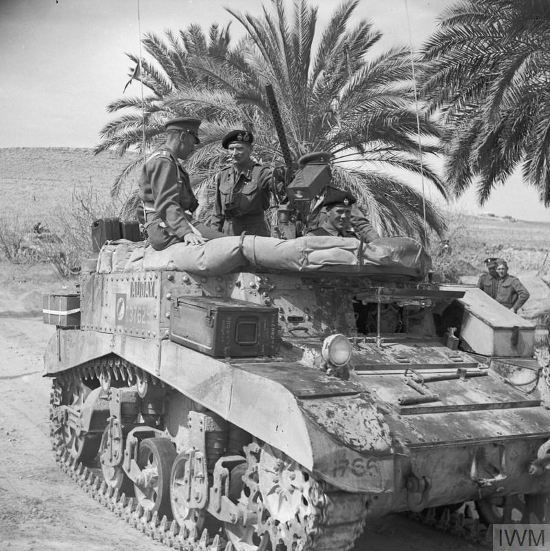 General Montgomery with Lt-Col A C Clive of the Grenadier Guards in a turretless Stuart command tank, 8 March 1943.