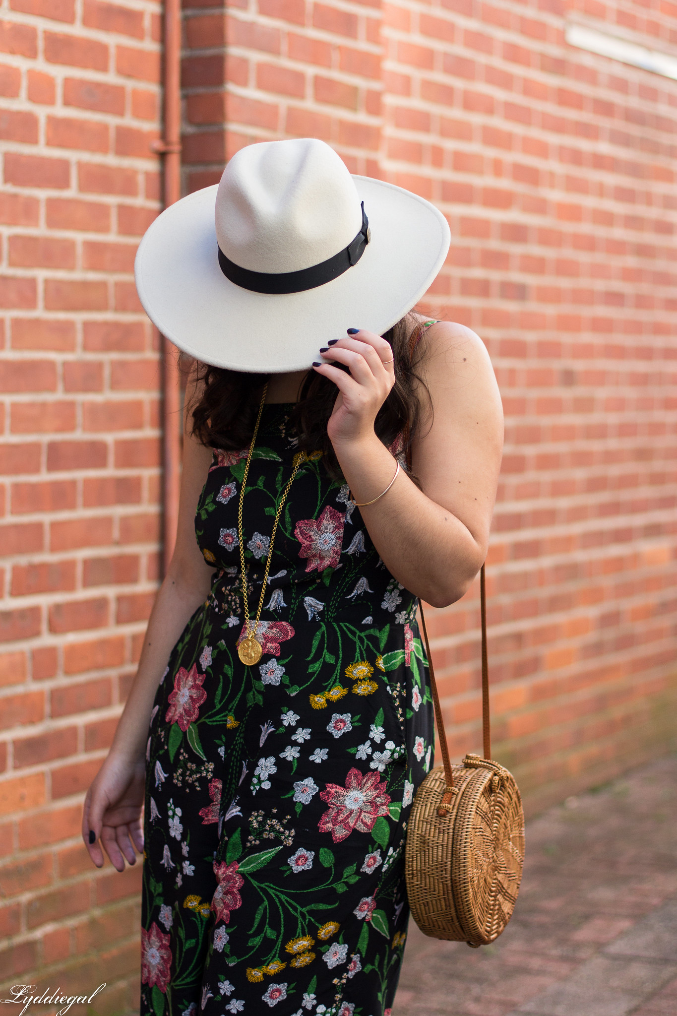 black floral jumpsuit, rust mules, cream fedora, straw bag-7.jpg