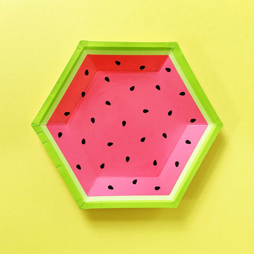 Watermelon Hexagon Party Plates
