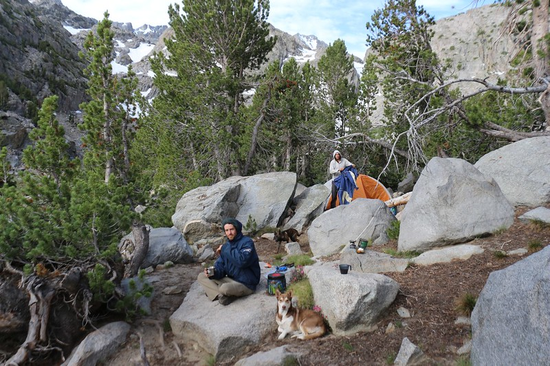 Time for breakfast and a mellow start to an easier hiking day at Sam Mack Meadow