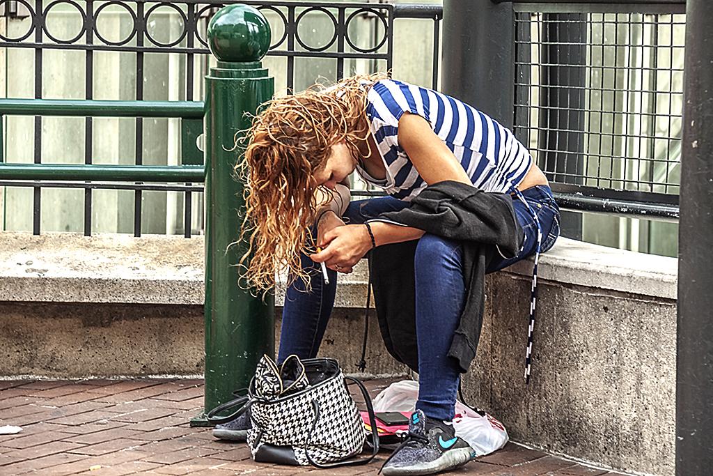 Slumping woman--Center City