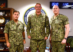 Adm. John Aquilino, left, and Adm. Christopher Grady, right, pose for a photo with Rear Adm. Dave Welch, June 25. (U.S. Navy/Clinton Beaird)