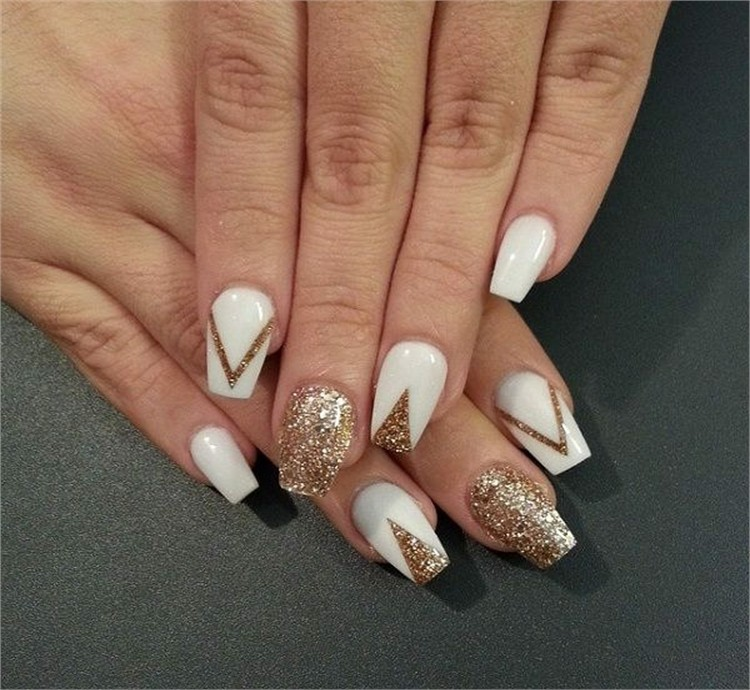 30 Elegant White And Gold Nail Art Designs Trends Nails 2018