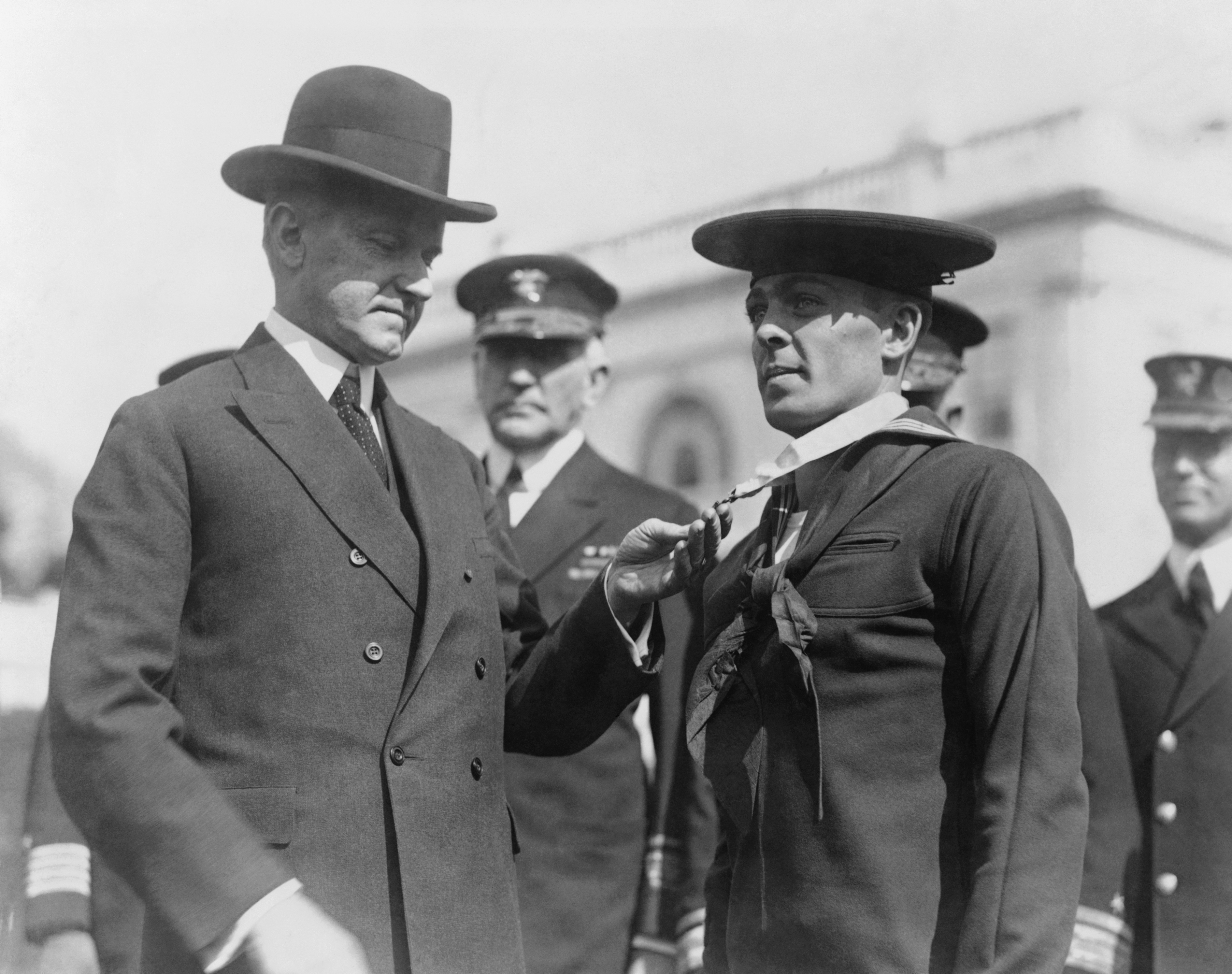 President Calvin Coolidge bestowing the Medal of Honor upon Henry Breault, March 8, 1924