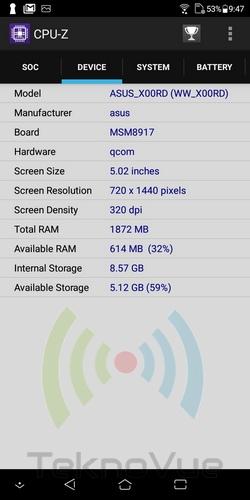 ASUS Zenfone Live L1 - CPU Z Device