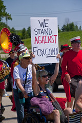 Protesting the Soon to be Built Foxconn Electronics Plant Mt. Pleasant Wisconsin 6-28-18  2081