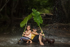 Children are happy to play and hold green umbrellas from nature in rainy autumn day.