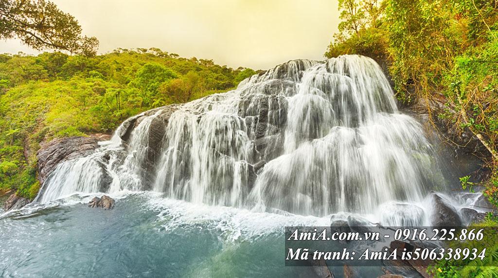 Tranh thác nước đẹp thiên nhiên tươi mát hợp phong thủy