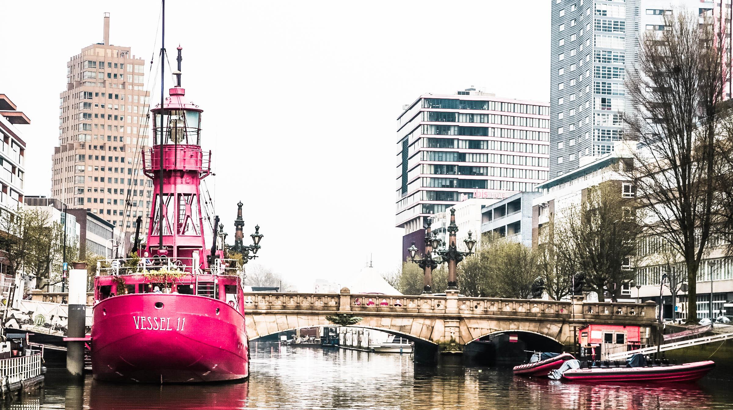 V2 boat in Rotterdam harbour