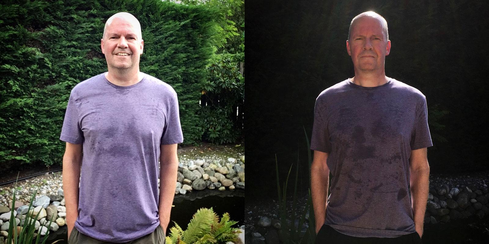 Eén jaar later... (links: 13/08/2017, rechts 08/07/2018)