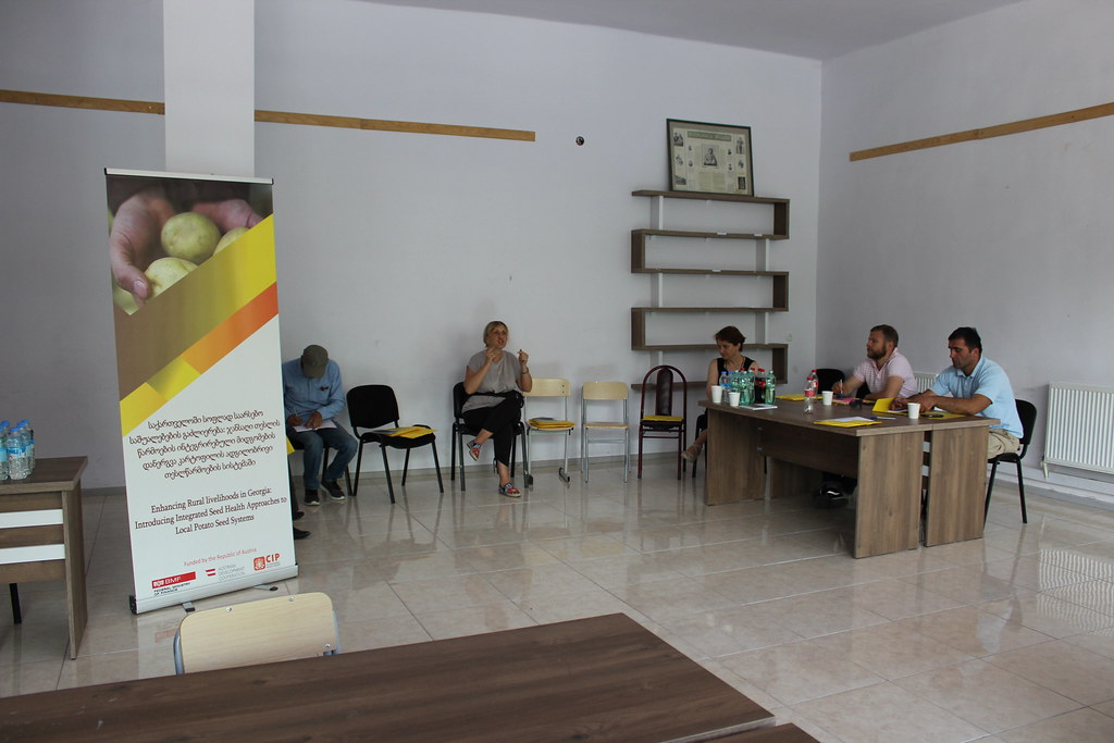 Introductory meeting with farmers' service center in Kazbegi. potato field June 28, 2018