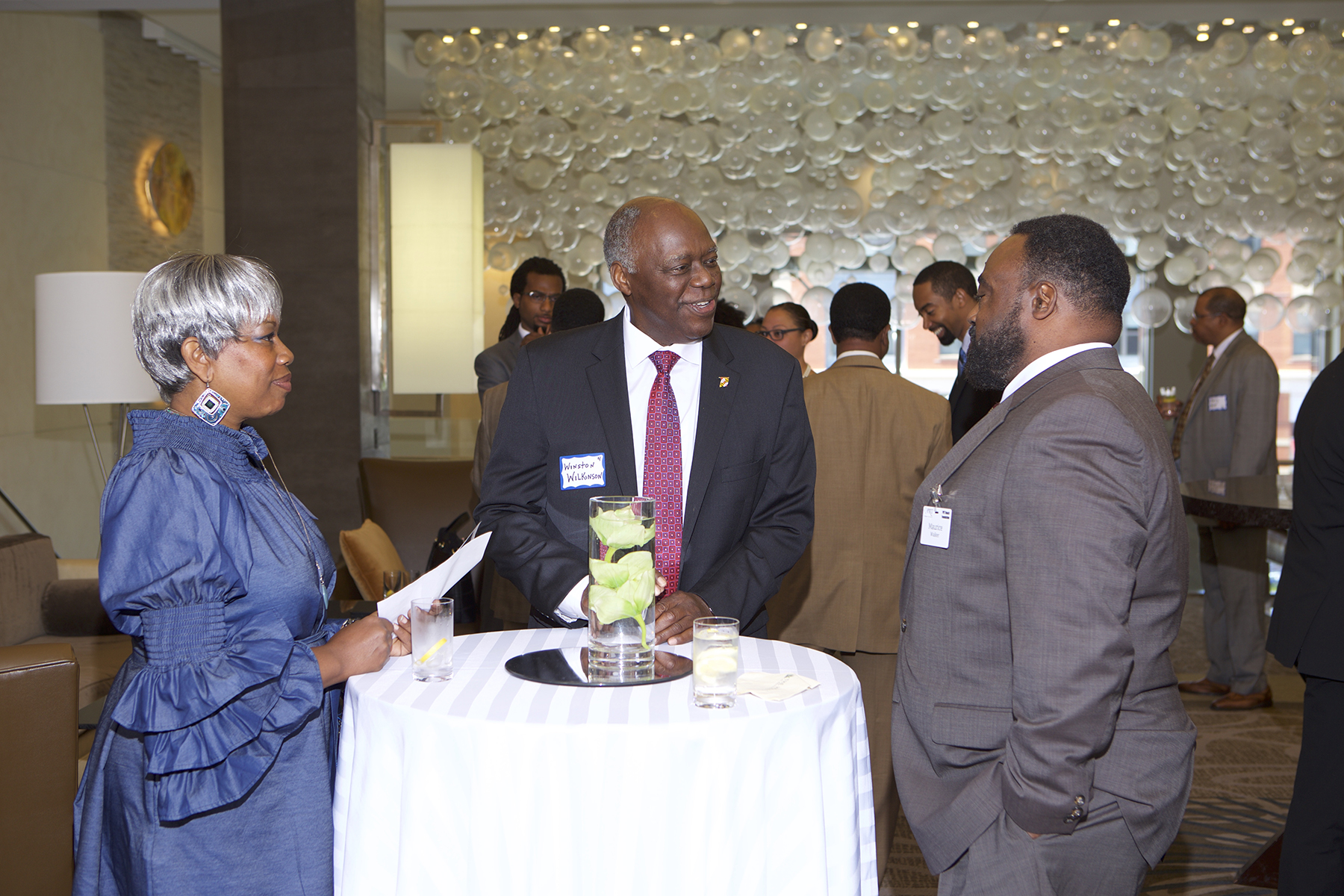 Maurice Walker (PRT Member - Birch Advisors) chats with Winston Wilkinson and Ramona Curry