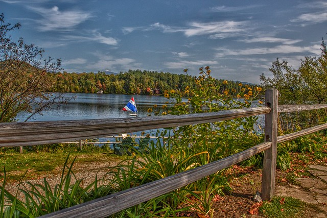 Lake Placid  - New York - Sail Boat - Old Fence