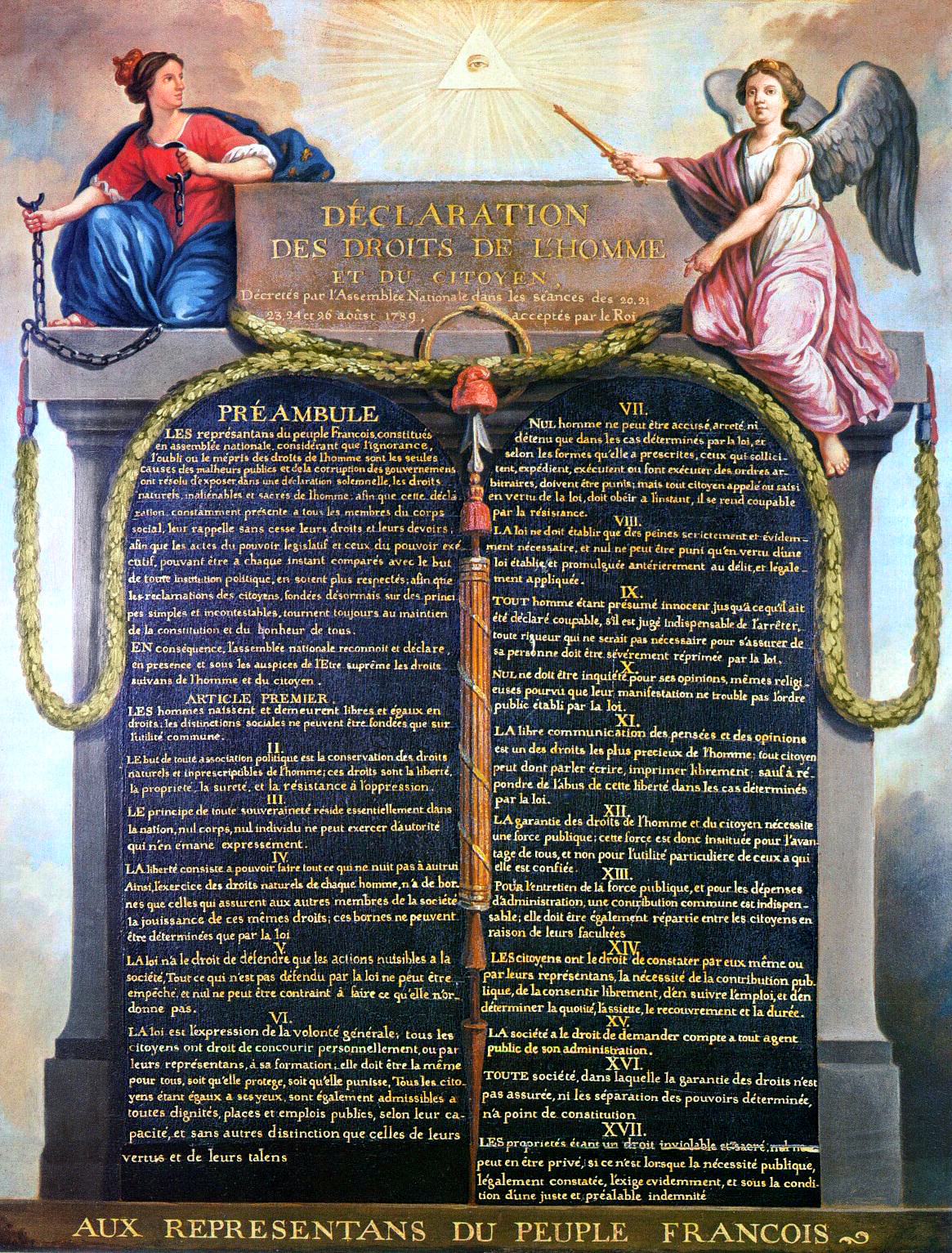 Declaration of the Rights of Man and of the Citizen, painted by Jean-Jacques-François Le Barbier, including