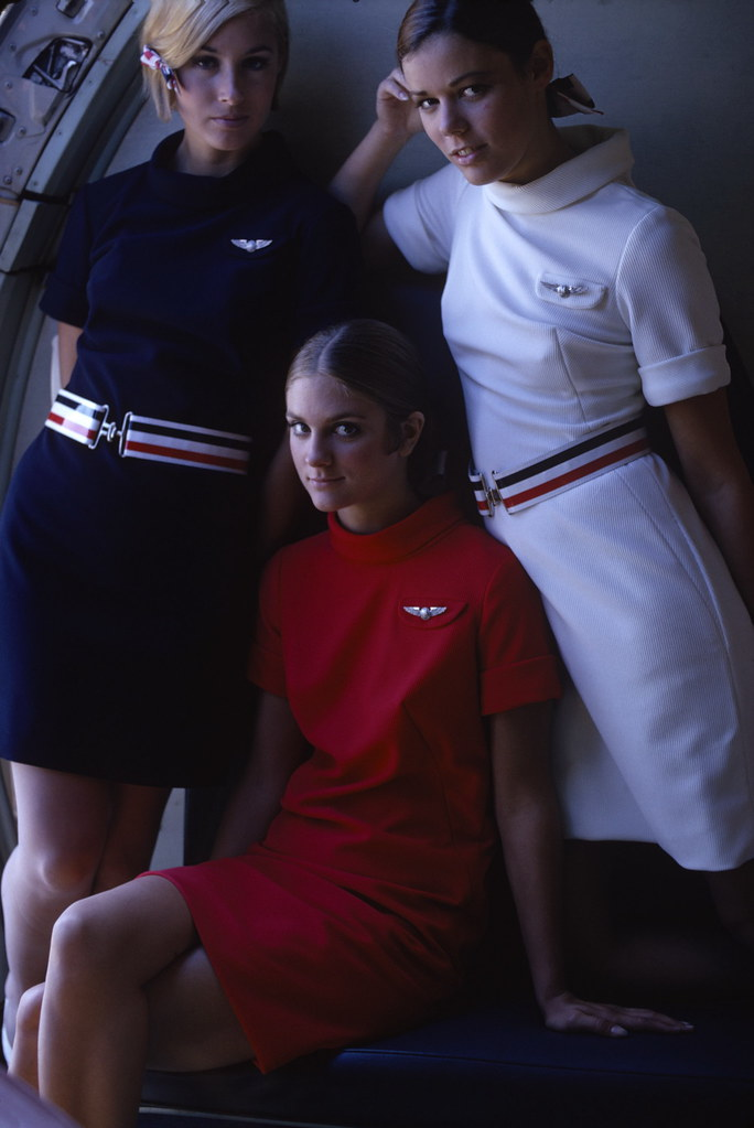 American Airlines stewardesses from a 1967 ad campaign. (Susan Wood Getty Images)