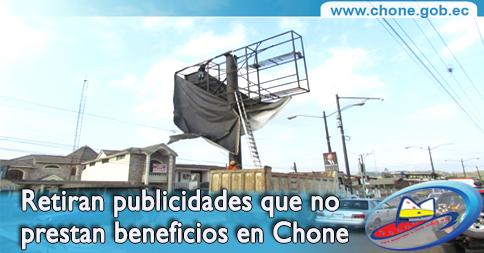 Retiran publicidades que no prestan beneficios en Chone