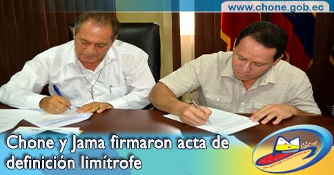 Chone y Jama firmaron acta de definición limítrofe