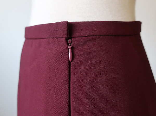 maroon wool skirt zip close up