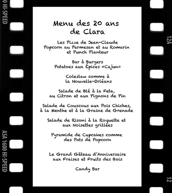 menu 20 ans