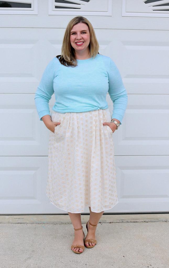 cream dot midi skirt, mint tippi 1