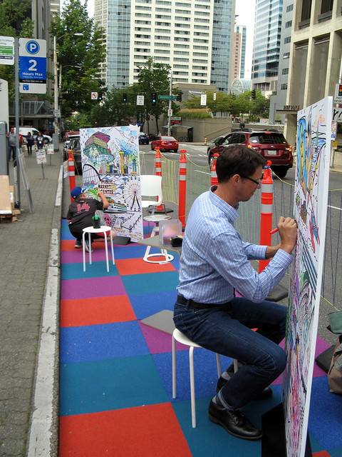 A pop-up park streatery with art