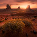 Sunrise at Monument Valley by albert dros
